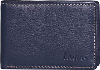 Laveri Bifold Wallet for Men - Leather, Blue and Tan