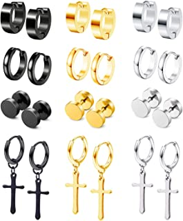 HiRinK 12Pairs Stud Earrings Cross Dangle Hinged Hoop...