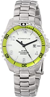 Women's Quartz Watch | M1 Mini by Momentum | Stainless Steel Watches for Women | Dive Watch with Japanese Movement & Analog Display | Water Resistant ladies watch with Date - White/Lime Steel