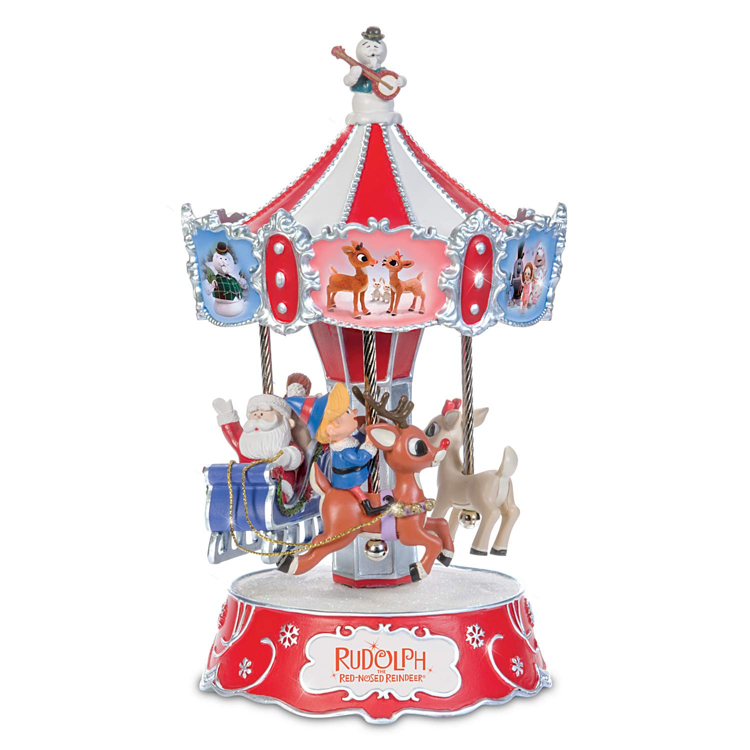 Image of Colorful Rudolph The Red Nosed Reindeer Musical Carousel Figurine