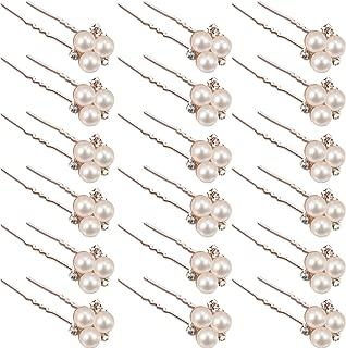 18 Pieces Wedding Pearl Hair Pins Brides Bridal Rhinestones Hair Pins Bridesmaid Hair Accessory (Rose Gold)