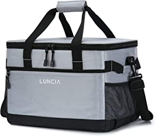 LUNCIA 33L Leakproof Collapsible Cooler Bag, Insulated Cooling Bag Portable Tote, 60 Can Soft Sided Cooler for Picnic, Camping, Hiking, Grey