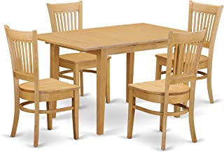 East West Furniture 5 Piece Dining Table and 4 Chairs Set