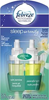Febreze Air Freshener, Sleep Serenity Bedroom Diffuser, Noticeables, Quiet Jasmine Air Freshener, Single Pack, 2 Count,0.87 Oz