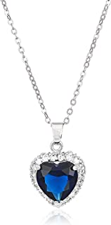 Heart Pendant Necklace with Blue Simulated Sapphire Zirconia Crystals 18K White Gold Plated Heart Necklace for Women 18