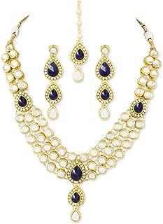 karatcart 22K Goldplated Blue Stone Kundan Jewellery Set For Women