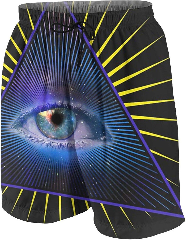 All Seeing Eye Pyramid Symbol Big Boys' Quick Dry Swim Trunks Beach Board Shorts Mesh Lining with Side Pockets