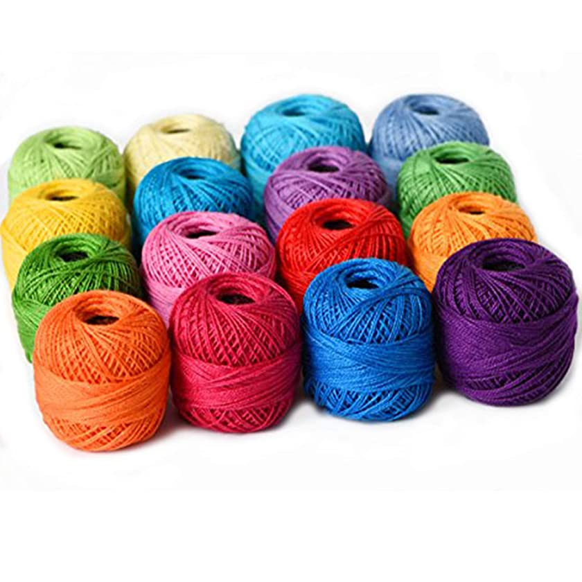 Thread Floss Sewing Soft 10g Cotton Balls Rainbow Colors of Size 8 Perle pearl Cotton Threads for Crochet Hardanger Cross Stitch Needlepoint Hand Embroidery All Different Colors (Suit 8)