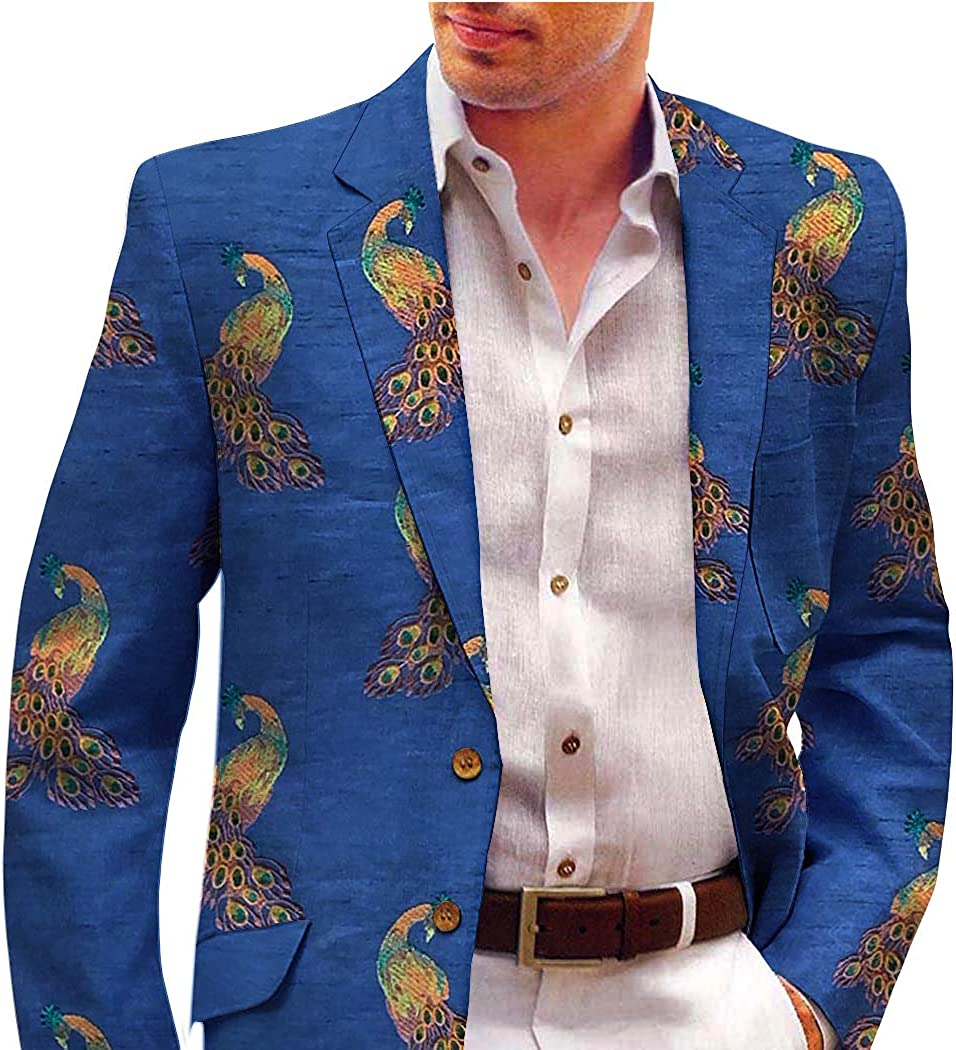 INMONARCH Blue Men's Embroidered Blazer with Peacock Motifs BLZ1077L40 40 Long Blue