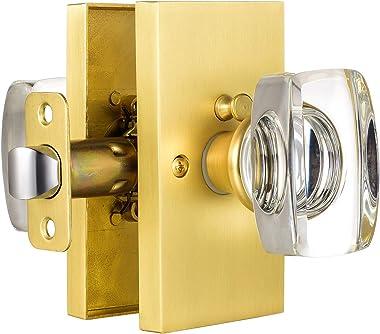 HIEMEY Privacy Bed Bath Door Knobs Interior with Lock, Crystal Glass Door Knobs Satin Brass, Keyless Bathroom Door Knob Set,