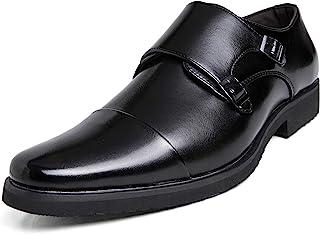 [DUKLUCAK] ビジネスシューズ メンズ ウォーキング 防水高級レザー 黒 ブラック ブラウン 軽量 大きいサイズ 24cm~29㎝ 革靴 紳士靴 モンクストラップ 外羽根 防滑 防臭 防菌 通気
