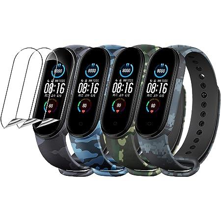 YHC [18 unità] 15 Colori Cinturino + 3 Pezzi Pellicola Protettiva per Xiaomi Mi Band 5 2020,Braccialetto in Silicone con Protezione per Lo Schermo