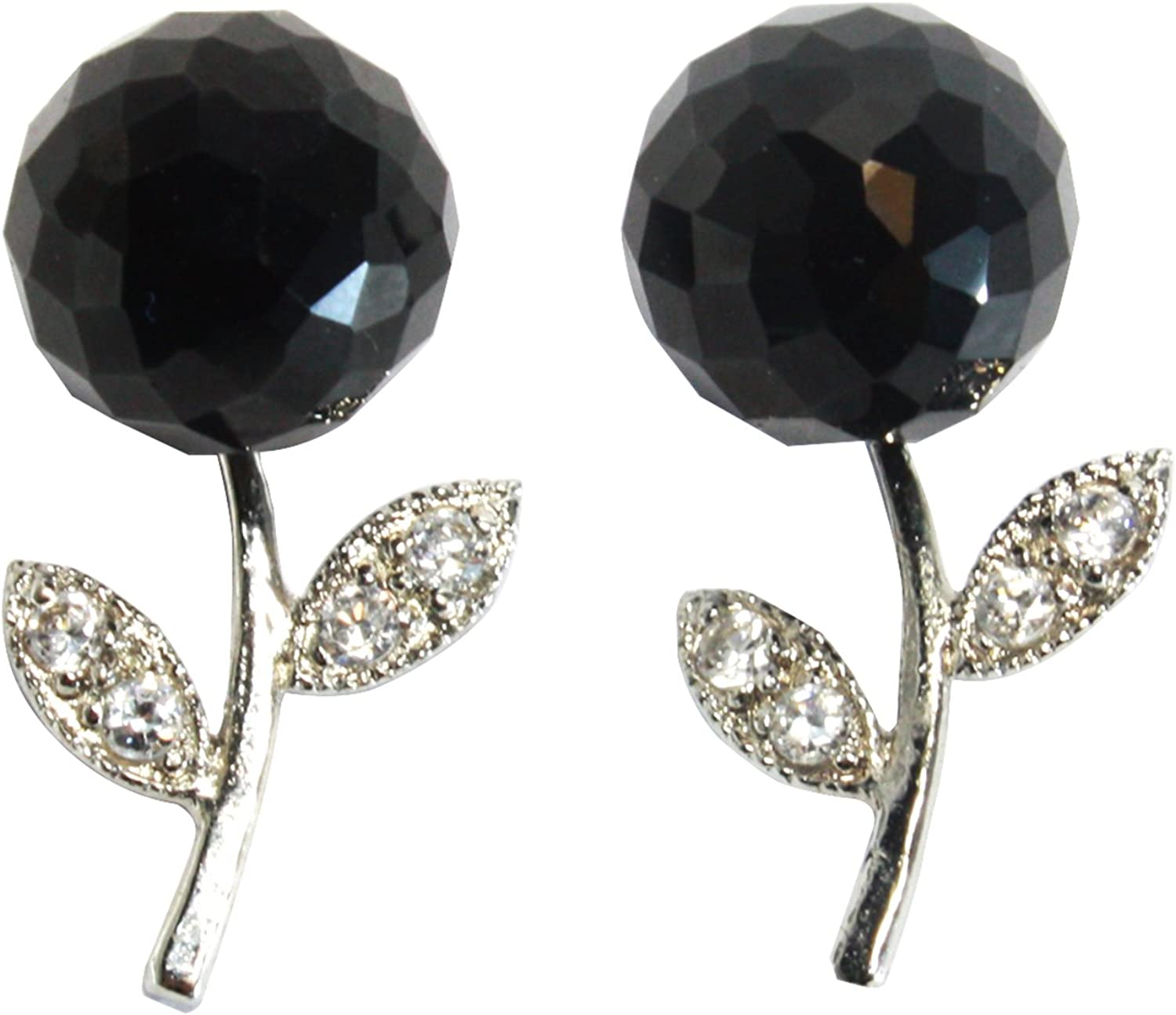 BDJ Rhodium Plated Faceted Round Bead Black Onyx Ball Stud Post Earrings