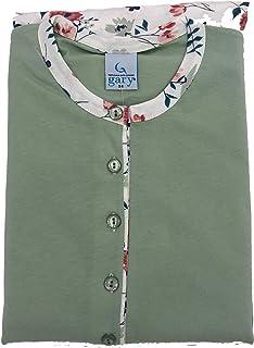 Made in Italy Estivo GARY Pigiama da Donna Serafino Taglia Conformate Lungo 100/% Cotone della Marca