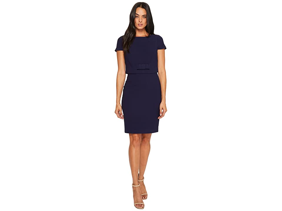 Badgley Mischka Cap Sleeve Popover Dress (Navy Blue) Women
