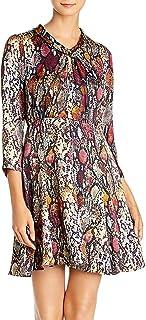 Rebecca Taylor Women's Long Sleeve Animal Print Silk Mini Dress