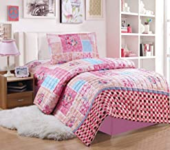 Kids Compressed Comforter 3Piece Set, Single Size, Colored Flowers 4, Pink