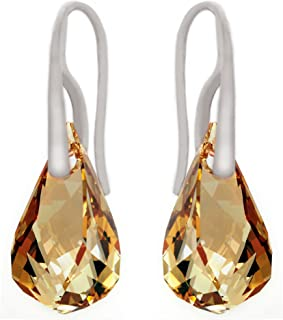 """Royal Crystals Sterling Silver 925""""Made with Swarovski Elements"""" Subtle Pierced Drop Earrings"""