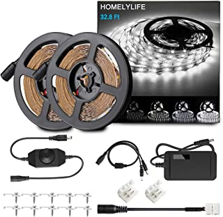 HOMELYLIFE Dimmable LED Strip Lights, 32.8ft 6500K Daylight White Light Strip Kit, 600 LEDs SMD2835 Non-Waterproof 12V LED Vanity Mirror Light, Under Cabinet Lighting Strips, UL Listed Power Supply