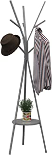 Homebi Coat Rack Hat Stand Free Standing Display Hall Tree Metal Hat Hanger Garment Storage Holder with 9 Hooks for Clothes Hats and Scarves in Grey,17.72