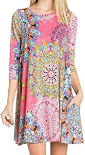 Famulily Women's Summer Casual Sleeveless Fun Print Swing Tshirt Dress Sundress with Pockets