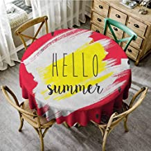 Wrinkle Free Tablecloths Hello Artistic Watermelon Background with Brushstrokes and a Script for Joyful Summertime Multicolor Beach Round Tablecloth Diameter 36