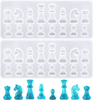 2 Pieces Chess Silicone Mold Epoxy Resin Craft Mold Chess Shape Resin Mold Chocolate Candy Jewelry Artcraft Mold for DIY M...