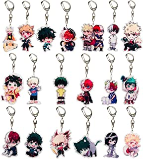 Raleighsee My Hero Academia Animation Around Transparent Double-Sided Acrylic Keychain Collectible Key Ring Bag Novelty Accessory Anime Cartoon Pendant Anime Fans Gift( 19PCS)