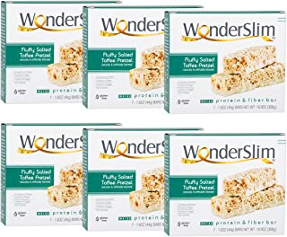 WonderSlim Low-Carb 15g Protein Diet Bar - Salted Toffee Pretzel - High Fiber Weight Loss Snack Bar - Gluten Free 6 Boxes Value Pack (Save 15%)