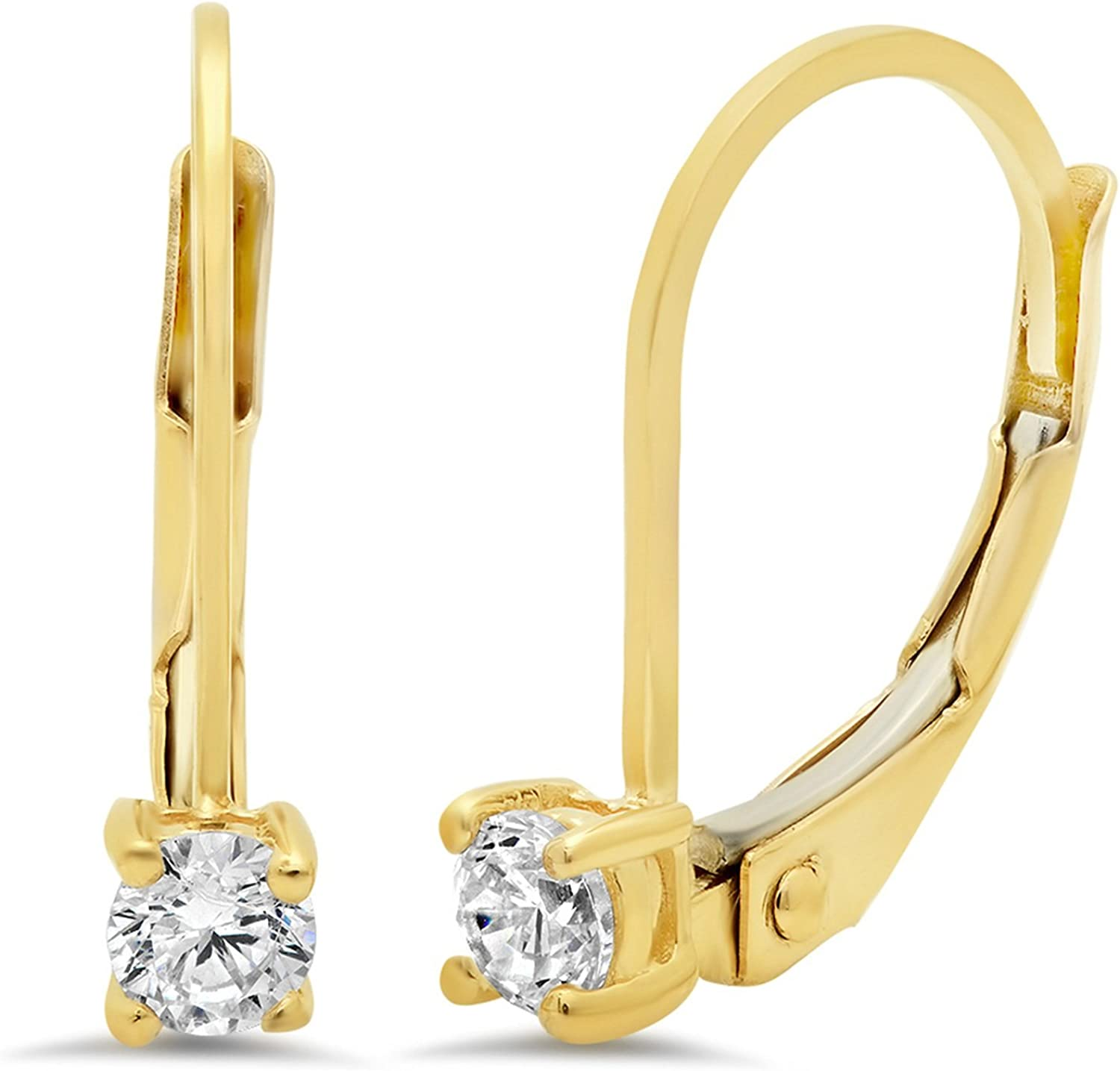 0.1ct Round Cut Solitaire Genuine White Created Sapphire Unisex Designer Lever back Drop Dangle Earrings Solid 14k Yellow Back Clara Pucci conflict free Jewelry