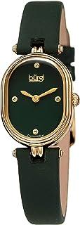 Burgi Petite Designer Women's Watch – Satin Over Genuine Calfskin Leather Strap, 4 Genuine Diamond Markers, Glossy Dial, Polished Oval Bezel - BUR229