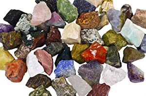 "3 lbs of a Bulk Rough Asia Stone Mix - with 40 Exotic Stone Types - Large 1"" Natural Raw Stones & Fountain Rocks for Tumbling, Cabbing, Polishing, Wire Wrapping, Wicca & Reiki Crystal Healing"