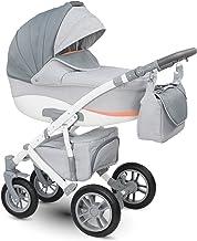 Lux4kids Cochecito 3 in 1 Silla de paseo + capazo + silla para coche + rutas giratorias neumática - giratorias Sirion gris & gris claro Si-20 con Isofix con Canciller en Polar