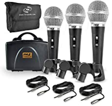 Pyle 3 Piece Professional Dynamic Microphone Kit Cardioid Unidirectional Vocal Handheld..