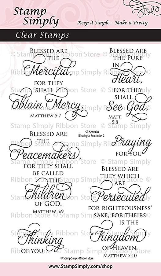 Stamp Simply Clear Stamps Blessings and Beatitudes Two Christian Religious 4x6 Inch Sheet - 6 Pieces