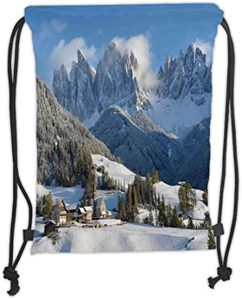 Drawstring Backpack Snow Mountain Scenery Gym Bag
