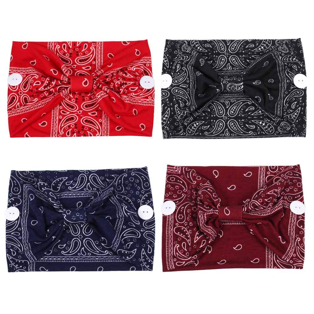 Vivilly Boho Headbands with Buttons Elastic He Bohemia Very popular! 5% OFF Wide 4pcs
