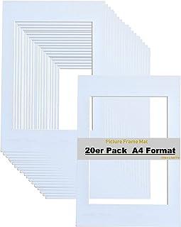 TUKA 20x Passe-Partout DIN A4, Ouverture 15x20 cm, Blanc, 1 mm d'épaisseur Passepartout, sans Acide Résistant au Vieilliss...