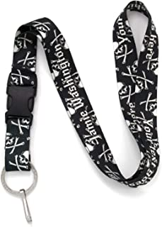 Buttonsmith Skulls Custom Lanyard - Customize with Your Text - Buckle and Flat Ring - Made in The USA