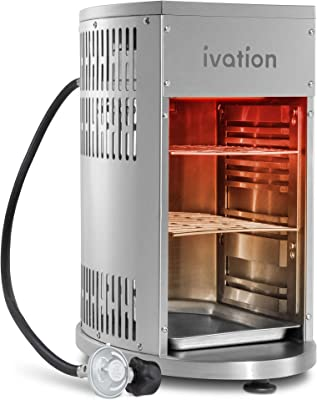 Ivation Infrared Propane Broiler Tabletop Gas Grill 1500°F   Auto Ignition & Heat Control Sear Cook Steak in Seconds   Stainless Steel Removable Parts for Easy Clean   Includes Hose Regulator & Cover