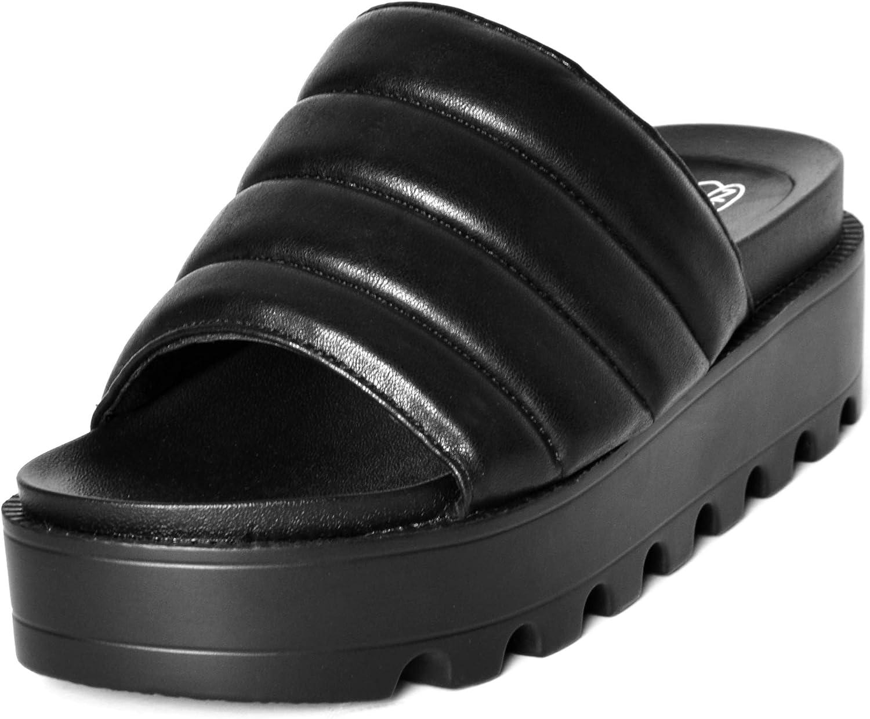 Womens Chunky Quilted Sliders Flatform Slip On Vegan Mules Padded Summer Slides Platform Summer Holiday Thick Sole Peep Toe Sandals