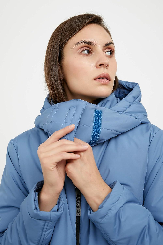 Finn Flare Damen Mantel mit Stehkragen und kuscheliger Kapuze Light Blue