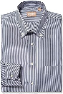 EZ Tuxedo Gitman Button Down Bengal Stripe Navy Dress Shirt (16.5 x 32)