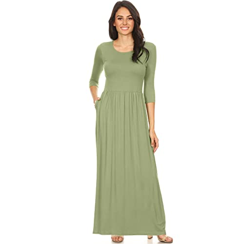 e09c0548552c Simlu Women's Long Rayon Maxi Dress with Pockets, Scoop Neck and Empire  Elastic Waist