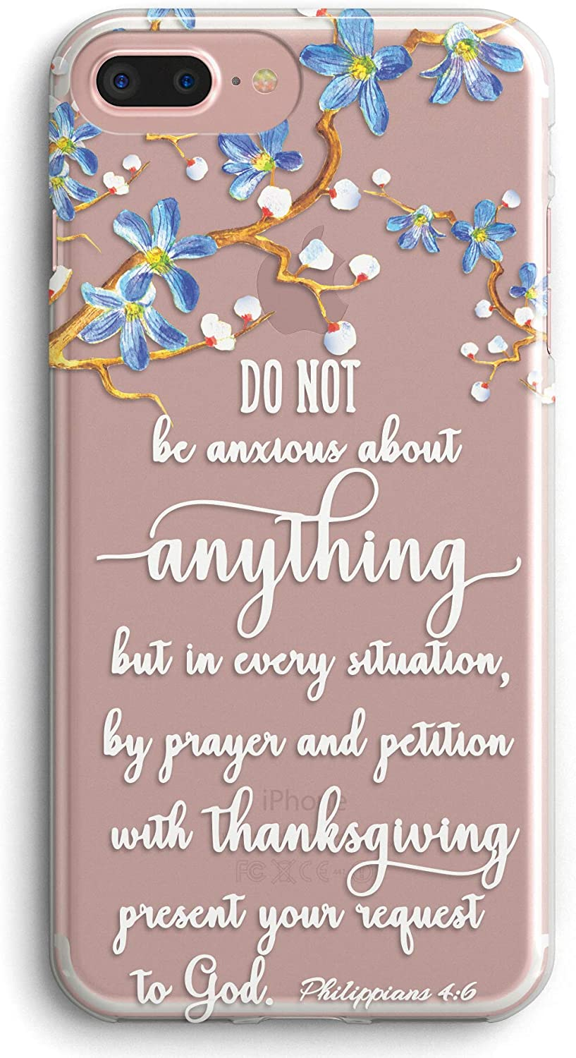 iPhone 7 Case,iPhone 8 Case,Floral Flower Bible Verse Quotes Christian Clear Soft Anti-Scratch Slim Fit Shock Absorption Protective Case Cover for iPhone 7/8
