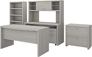 Office by kathy ireland Echo Bow Front Desk, Credenza with Hutch, Bookcase and File Cabinets in Gray Sand