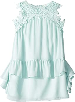 Embroidered Trap Chiffon Ruffle Dress (Big Kids)