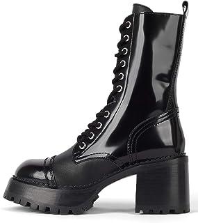 حذاء برقبة طويلة من Jeffrey Cample، مصنوع من الجلد باللون الأسود برباط من الجلد برباط (7، صندوق أسود)