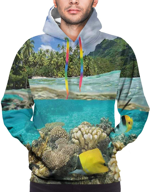Men's Hoodies Sweatshirts,Pacific Ocean Foliage Flowering Hibiscuses and Buds Monochrome Wildlife Illustration