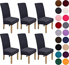 Velvet Stretch Dining Chair Slipcovers - Spandex Plush Short Chair Covers Solid Large Dining Room Chair Protector Home Dec...